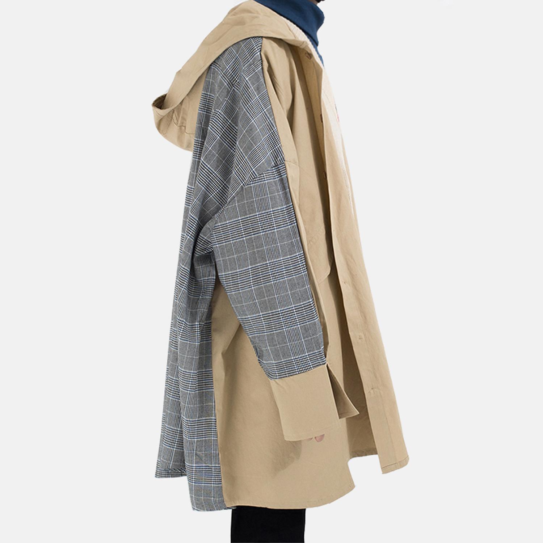 男士风衣外套 DM-space超级宽松廓形披风格子中长款拼接撞色男女青年OV风衣外套_推荐淘宝好看的男风衣外套