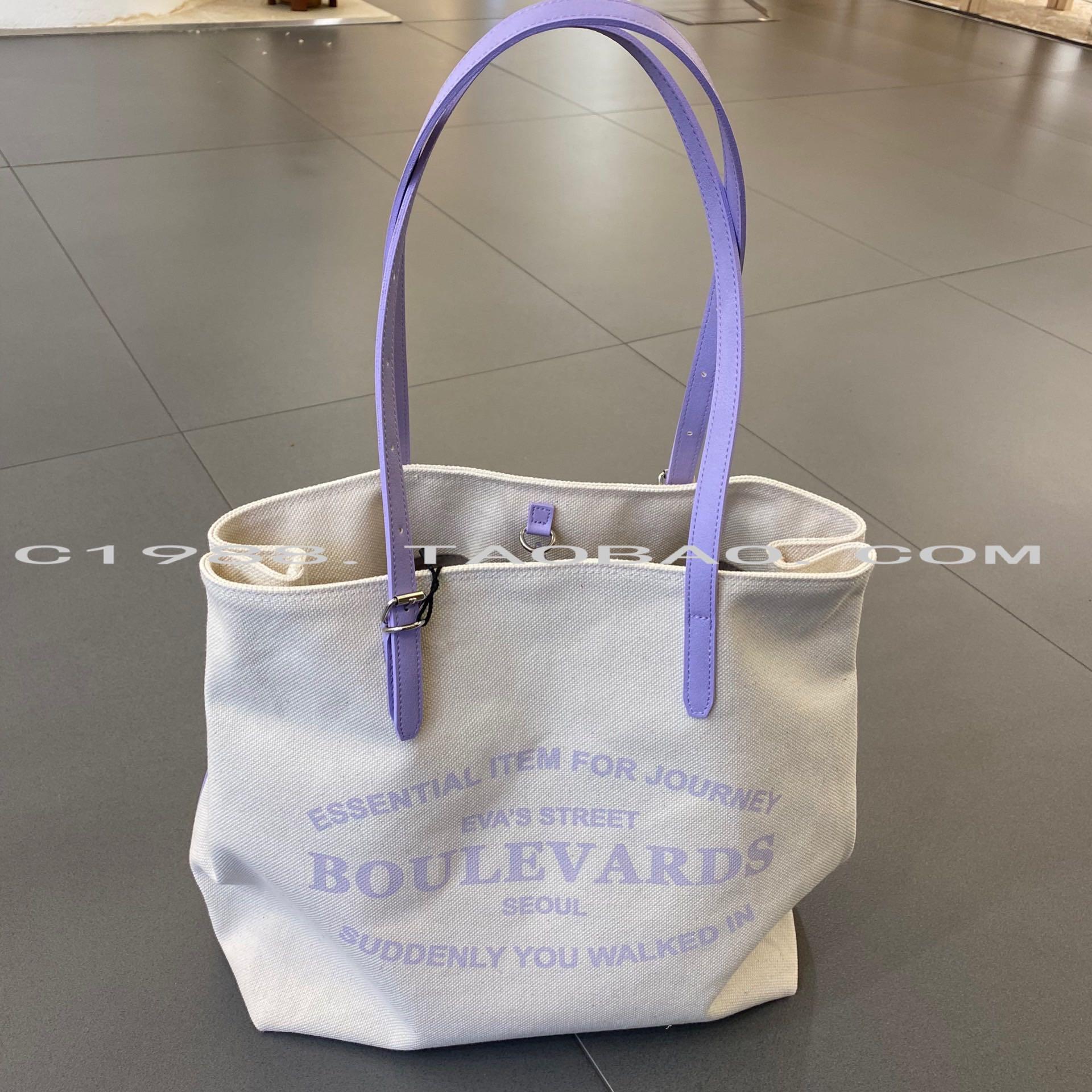 紫色帆布包 紫色帆布包韩国代购新简约百搭大容量单肩包女休闲包ins风_推荐淘宝好看的紫色帆布包