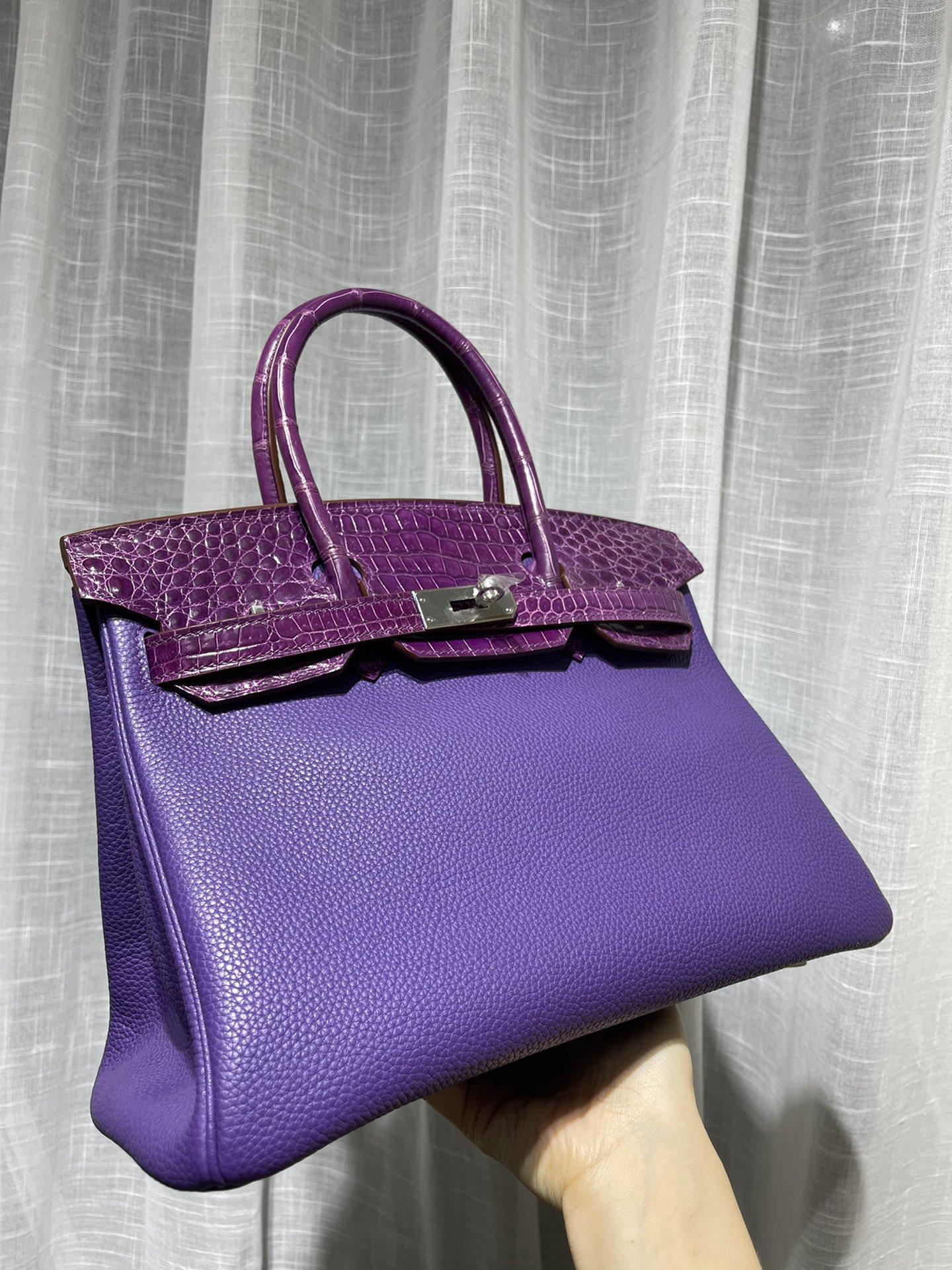 紫色手提包 尼罗鳄鱼皮肚皮拼Togo牛皮bk30铂金包手提女包女士新款轻奢紫色_推荐淘宝好看的紫色手提包