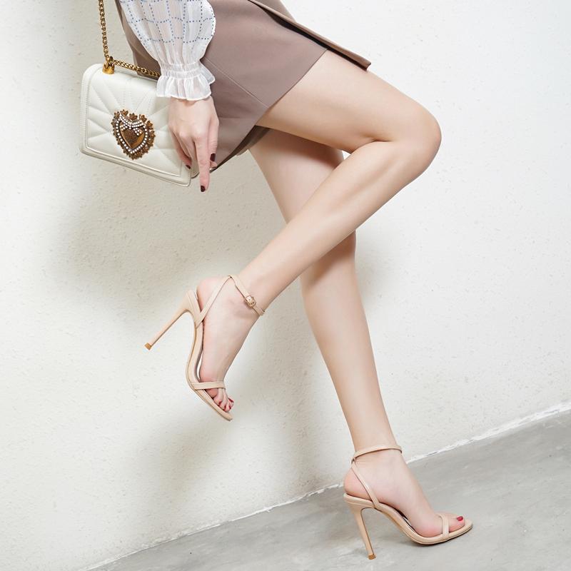 性感高跟鞋 2021欧美夏季露趾高跟女鞋后绊带凉鞋细跟一字扣带性感高跟凉鞋女_推荐淘宝好看的女性感高跟鞋