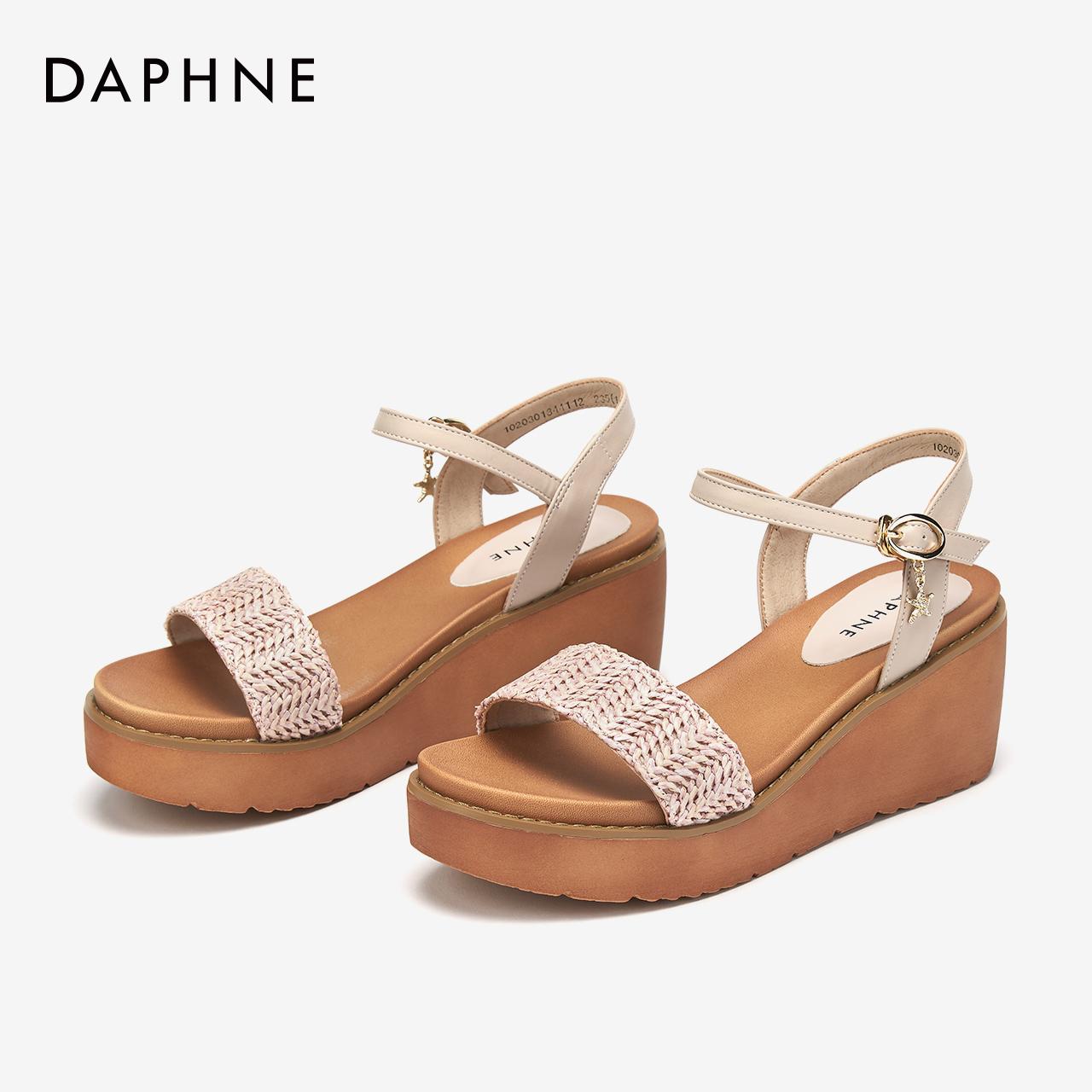 达芙妮坡跟鞋 达芙妮凉鞋夏女2020新款圆头坡跟厚底凉鞋编织鞋面一字扣带女鞋_推荐淘宝好看的达芙妮坡跟鞋