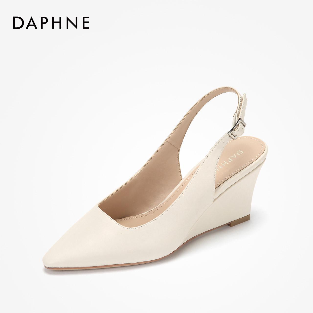 达芙妮坡跟鞋 达芙妮女鞋坡跟单鞋2019春单鞋女浅口后空时装鞋方头粗跟鞋_推荐淘宝好看的达芙妮坡跟鞋