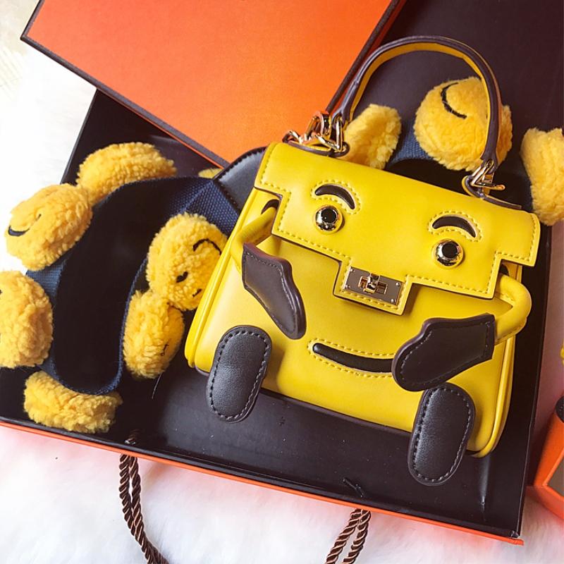 黄色迷你包 精致小包包女斜挎 ins笑脸凯莉包黄色真皮卡通mini包手提迷你可爱_推荐淘宝好看的黄色迷你包