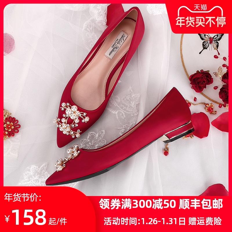 红色平底鞋 婚鞋女平底2020年新款冬季红色结婚鞋子孕妇低跟中式秀禾服新娘鞋_推荐淘宝好看的红色平底鞋