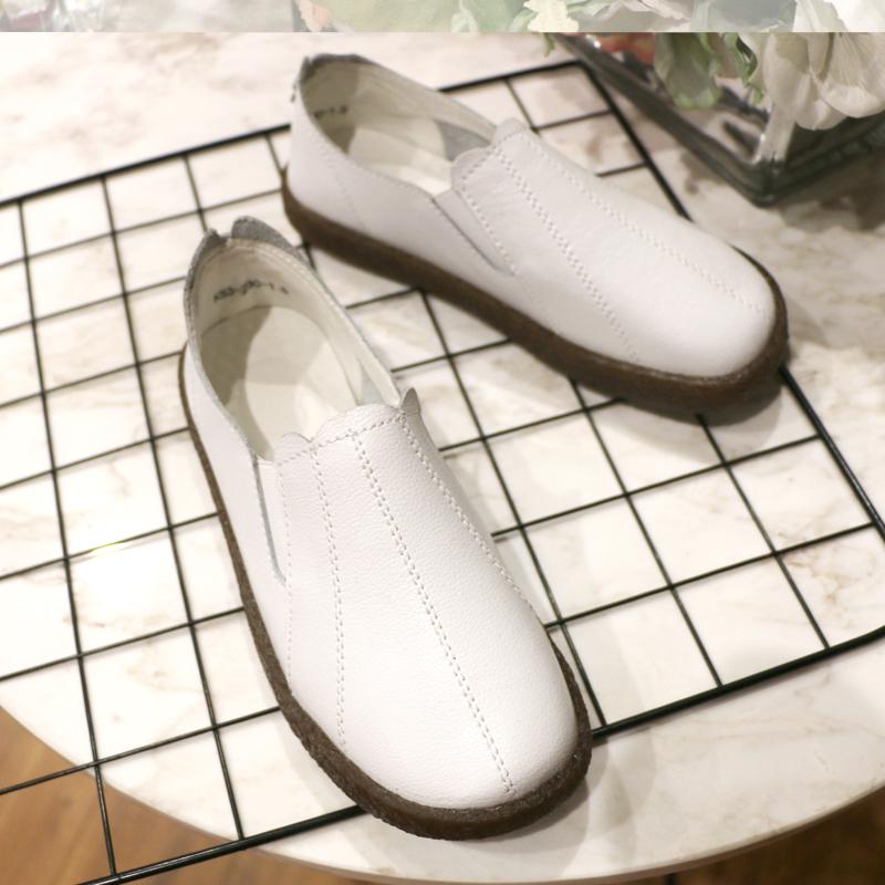 黑色平底鞋 护士鞋瓢鞋女春秋新款平底黑色单鞋牛筋软底豆豆鞋一脚蹬舒适女鞋_推荐淘宝好看的黑色平底鞋