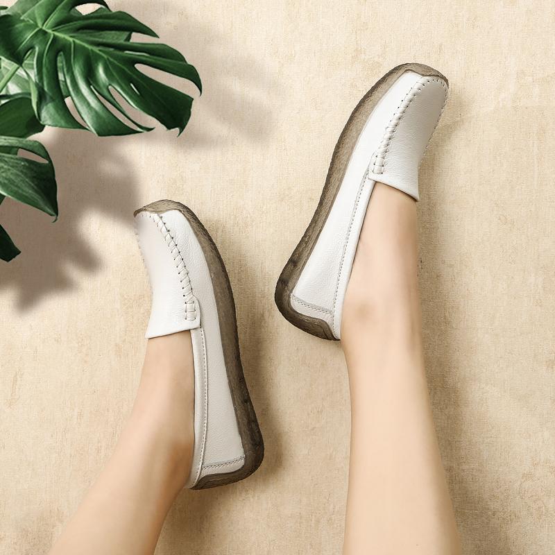 白色单鞋 护士鞋女2020春夏新款白色百搭平底鞋防滑牛筋底软底一脚蹬单鞋子_推荐淘宝好看的白色单鞋