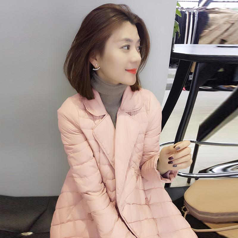 粉红色羽绒服 欧洲站冬装女2021新款欧货潮韩版时尚粉红色中长款轻薄羽绒服外套_推荐淘宝好看的粉红色羽绒服