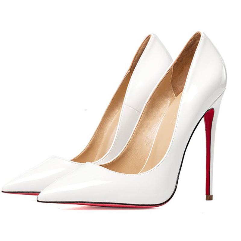细高跟鞋 欧美秋季网红款尖头细高跟10CM黑色牛漆皮大码12cm浅口工作女单鞋_推荐淘宝好看的女细高跟鞋