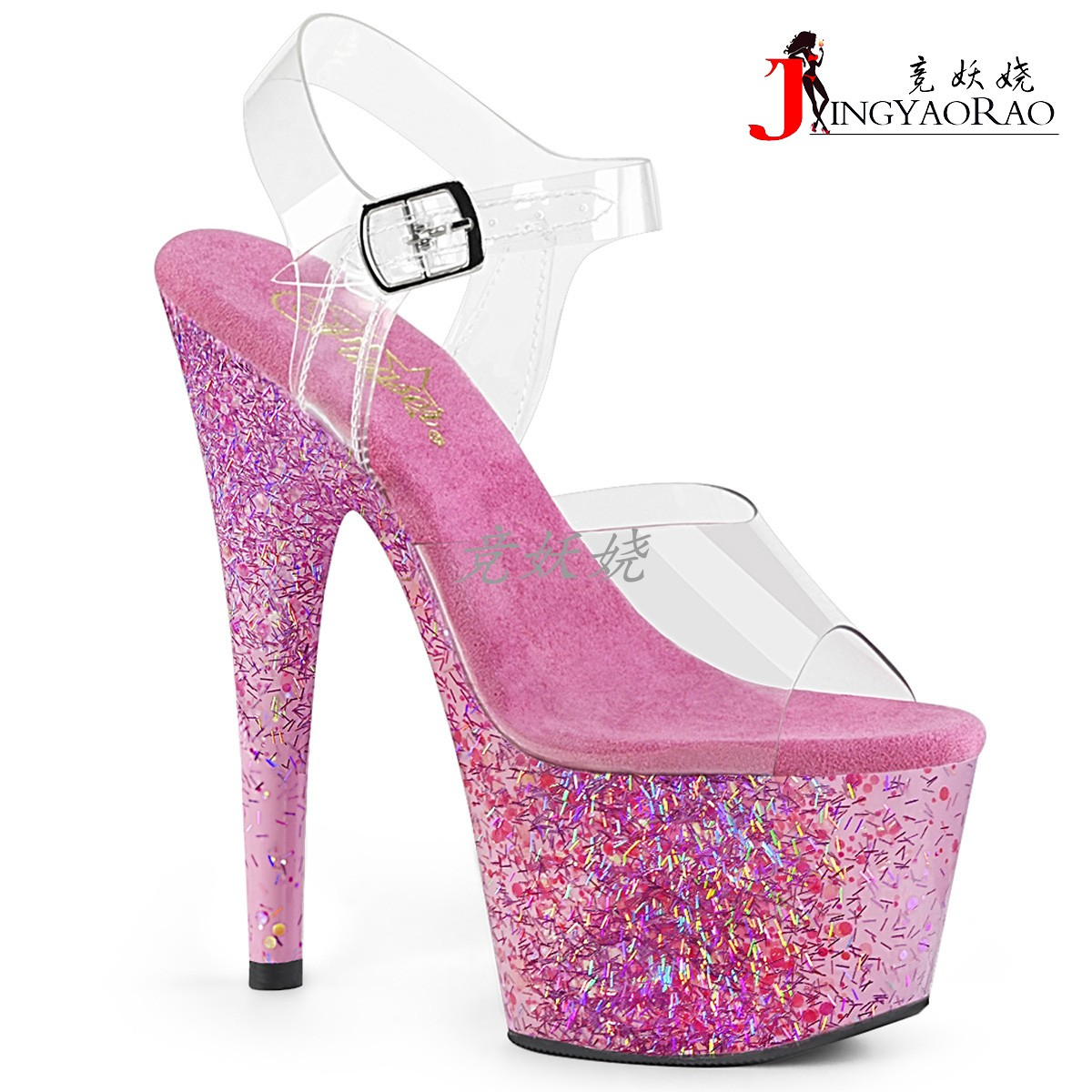 粉红色鱼嘴鞋 美国Pleaser17.8cm粉红色闪光装饰片防水台高跟凉鞋钢管舞露趾鞋_推荐淘宝好看的粉红色鱼嘴鞋