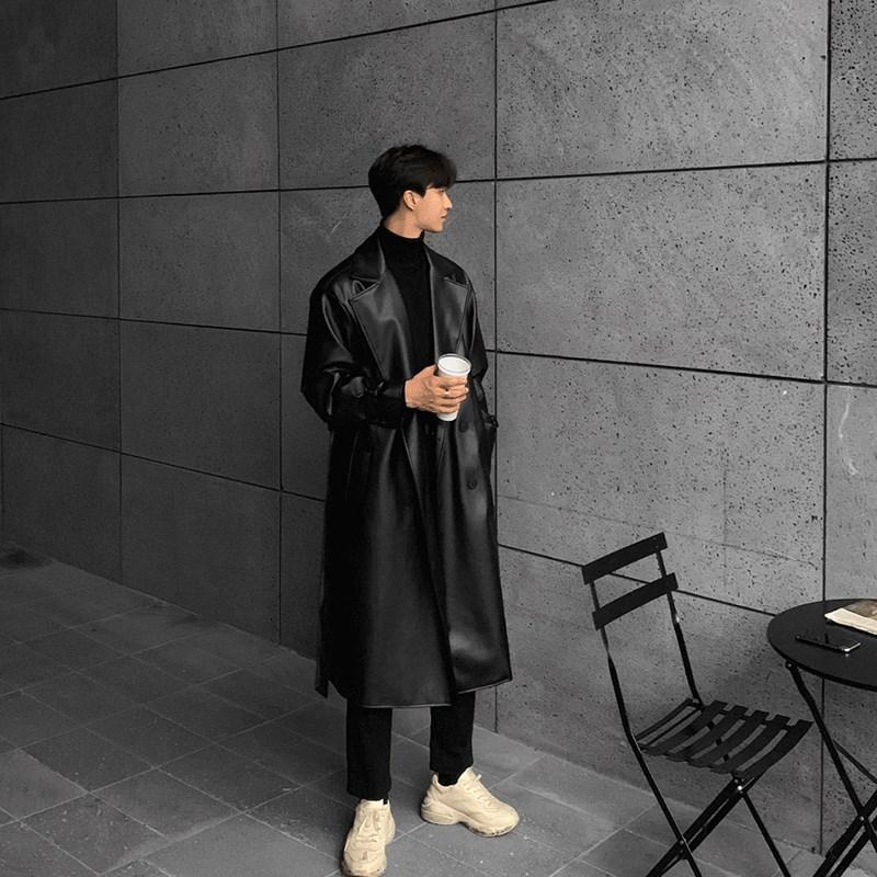 韩版男士机车皮衣 二十三岁秋冬季修身皮衣男韩版潮流长款帅气机车  软夹克风衣外套_推荐淘宝好看的韩版男机车皮衣