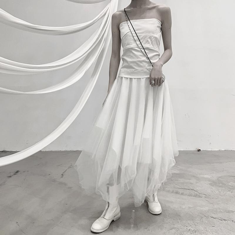 白色半身裙 BB BLUE小众纯欲风白色网纱新款设计感不规则半身蓬蓬裙气质修身_推荐淘宝好看的白色半身裙