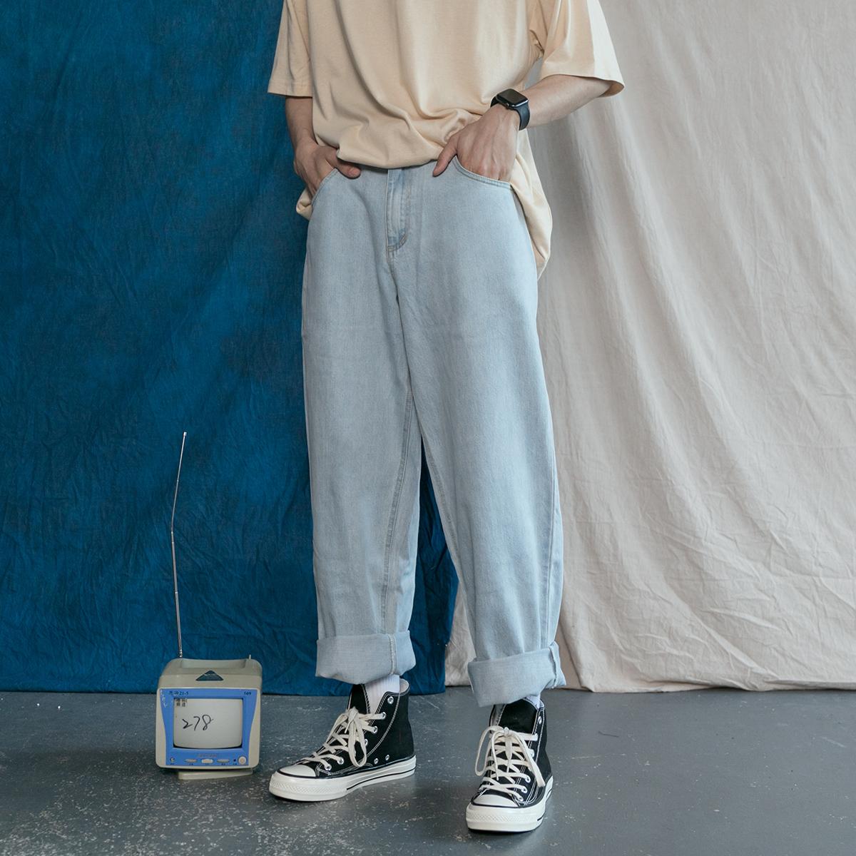 男士直筒牛仔裤 日系复古简约百搭纯色基础款牛仔长裤宽松BF老爹裤男女直筒休闲裤_推荐淘宝好看的男直筒牛仔裤