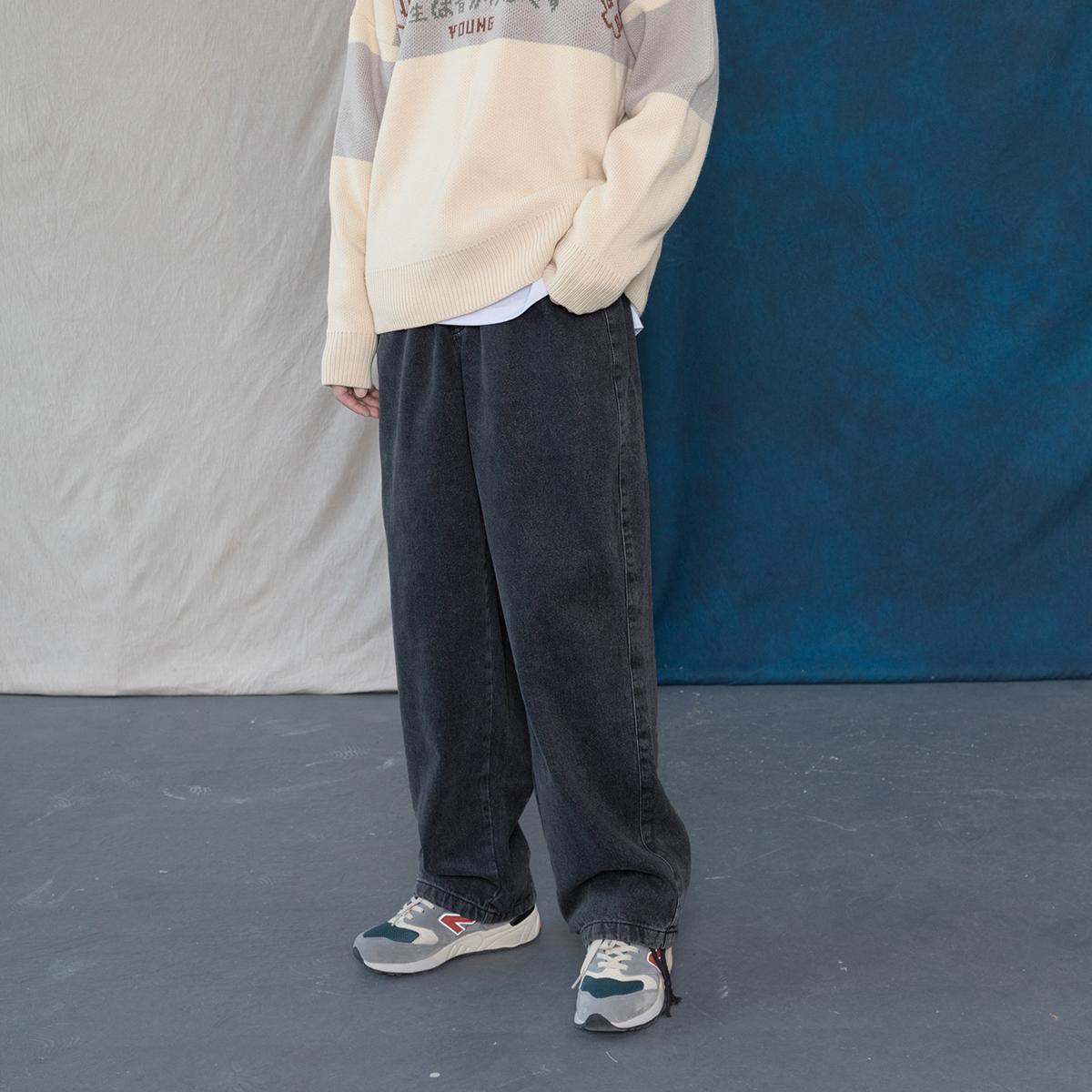 男式牛仔裤 蒙马特先生 韩版潮流街头烟灰色显瘦牛仔裤 男女直筒百搭休闲长裤_推荐淘宝好看的男牛仔裤