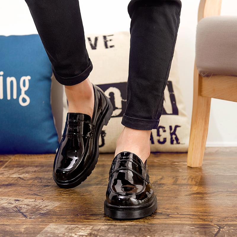 黑色豆豆鞋 秋季小皮鞋男韩版潮流黑色百搭休闲鞋子男士英伦懒人一脚蹬豆豆鞋_推荐淘宝好看的黑色豆豆鞋
