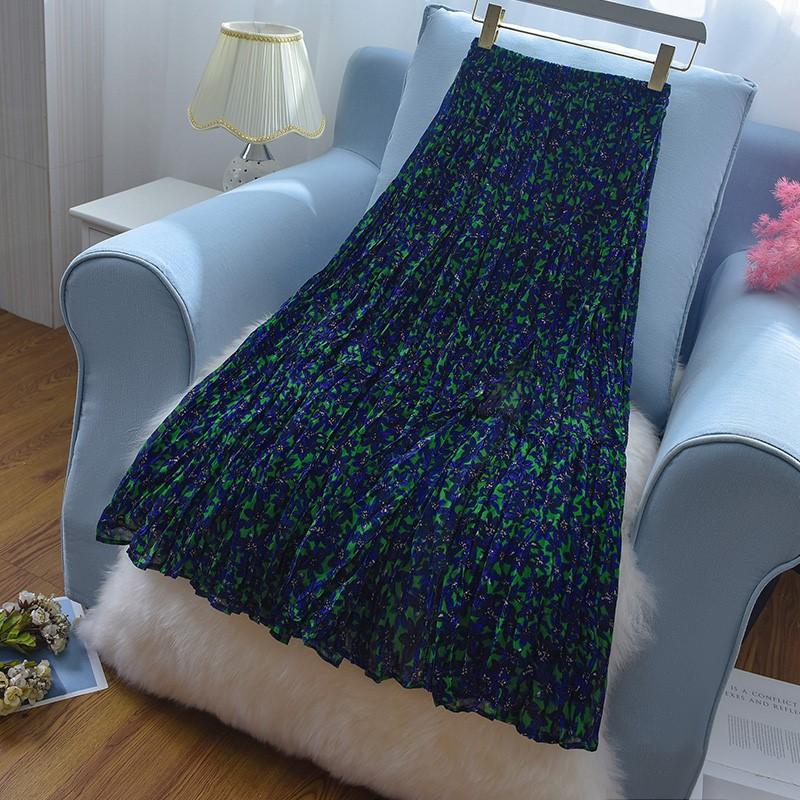 绿色雪纺半身裙 高腰碎花雪纺半身裙女薄款2021夏季新款中长款百褶绿色长裙子a字_推荐淘宝好看的绿色雪纺半身裙