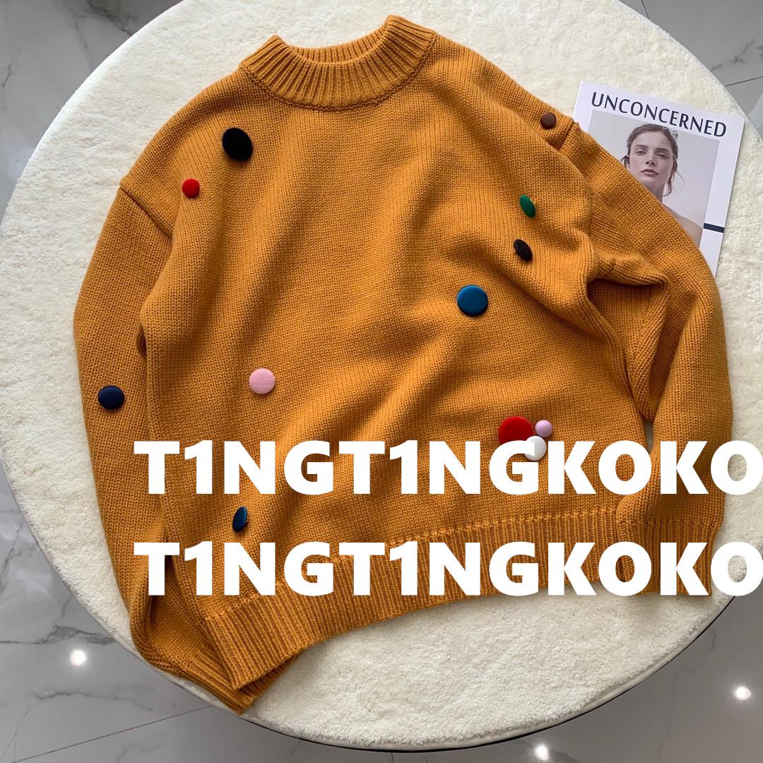 黄色糖果包 【正确版本】8ON8王一博同款姜黄色糖果小饼干装饰粗针织包扣毛衣_推荐淘宝好看的黄色糖果包