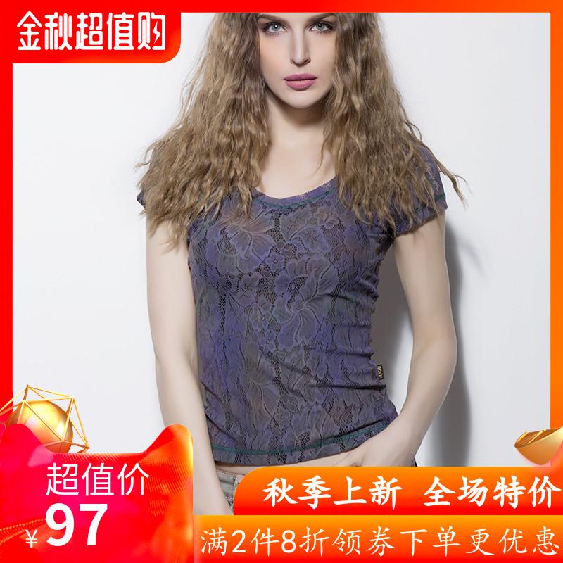 女款短袖衬衫 DGVI紫色蕾丝T恤衫女2020夏季新款时尚欧美风薄款透气短袖上衣_推荐淘宝好看的女短袖衬衫