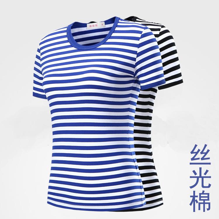 蓝白条纹t恤 夏季蓝白条纹弹力丝光棉短袖t恤女款海魂衫情侣装修身海军风半袖_推荐淘宝好看的女蓝白条纹t恤