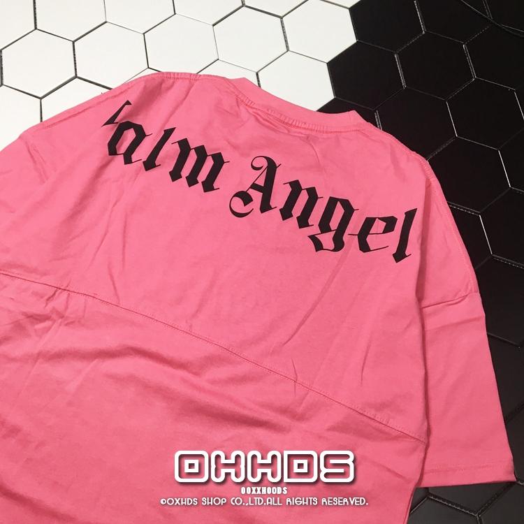 粉红色T恤 高街 个性街头潮流宽松掉肩中袖大版粉红色哥特字印花短袖T恤情侣_推荐淘宝好看的粉红色T恤