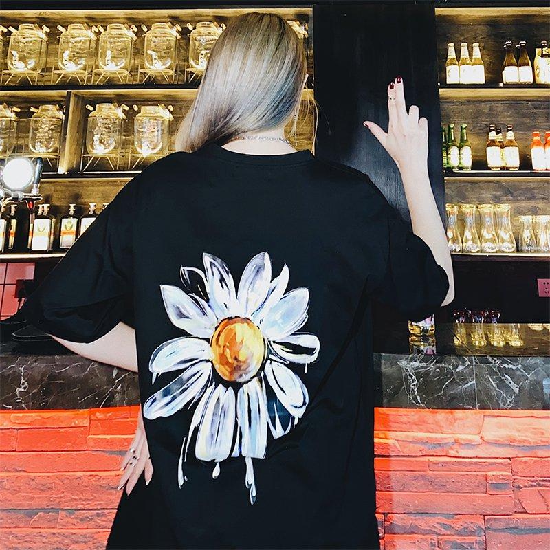 手绘黑白t恤 FMK国潮牌夏男女ins水墨手绘黑白雏菊街头宽松休闲短袖T恤Sunrise_推荐淘宝好看的女手绘黑白t恤