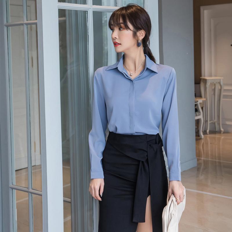 白色衬衫 蓝色衬衫女设计感小众2021春装新款雪纺长袖职业装时尚洋气白色秋_推荐淘宝好看的白色衬衫
