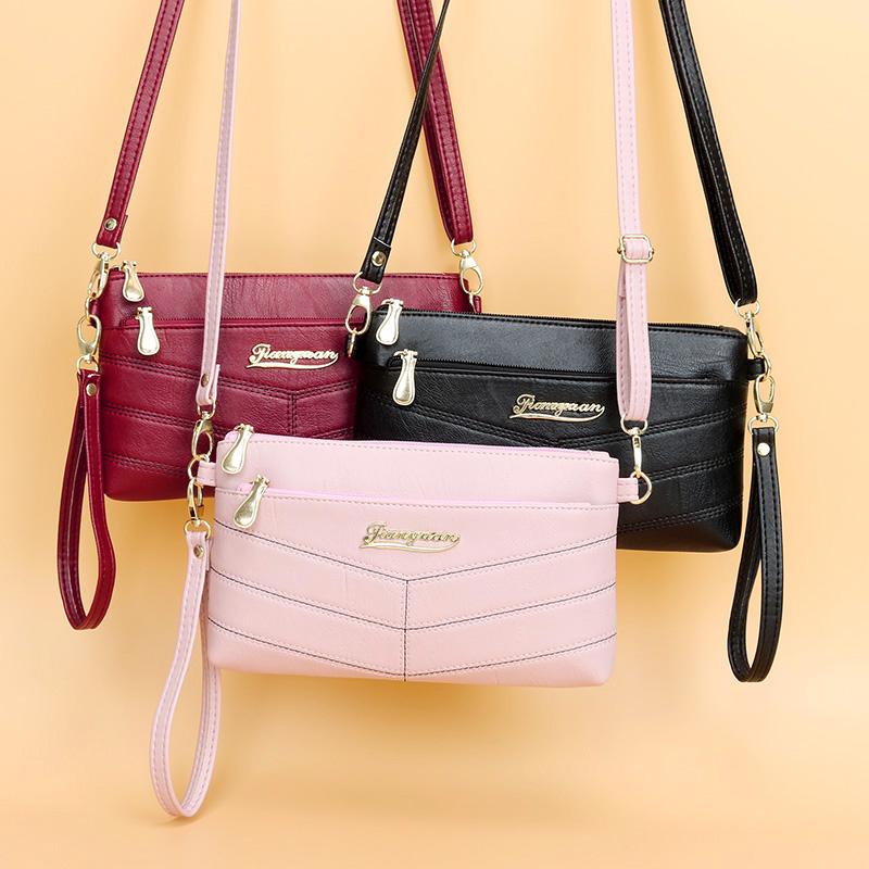 粉红色手拿包 新款女小包时尚百搭女斜挎包手拿包女士小方包手机包零钱包软皮包_推荐淘宝好看的粉红色手拿包