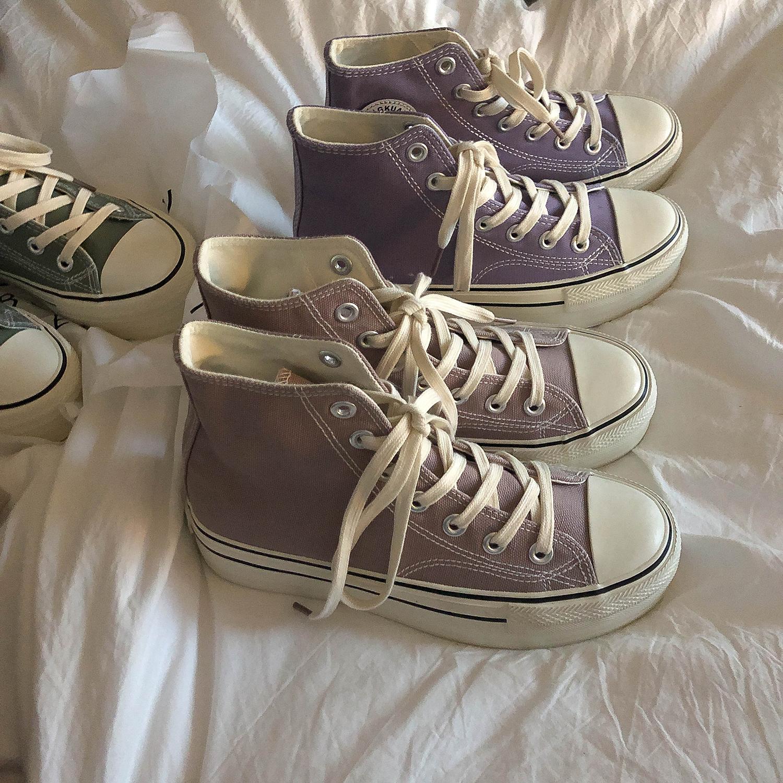 紫色厚底鞋 林先参 紫色厚底软妹高帮帆布鞋女复古港风ins韩版百搭学生板鞋潮_推荐淘宝好看的紫色厚底鞋