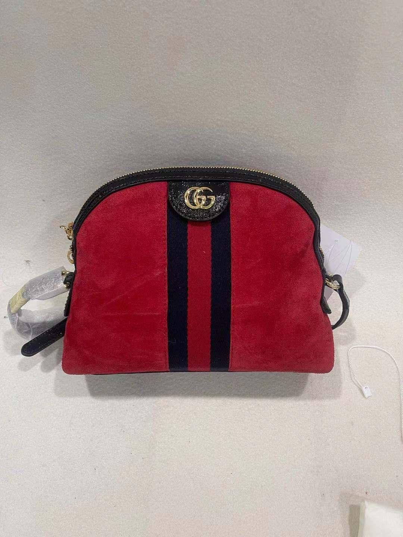 gucci贝壳包 【95新】Gucci古驰红色麂皮贝壳包单肩斜挎包_推荐淘宝好看的gucci贝壳包