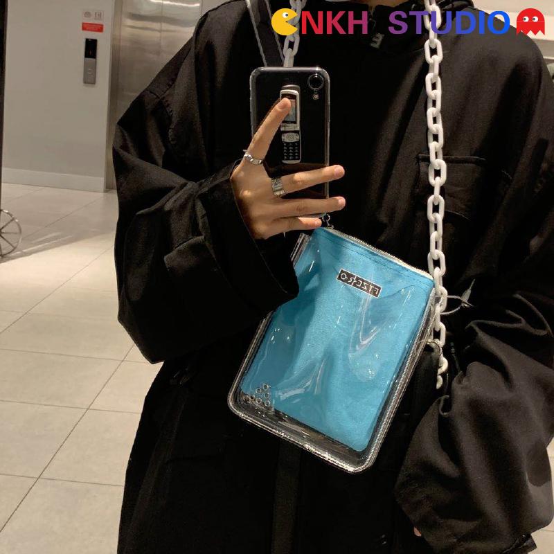 透明糖果包 NKH糖果色PVC透明斜跨包INS风情侣街头嘻哈个性蹦迪链条包FTZERO_推荐淘宝好看的透明糖果包