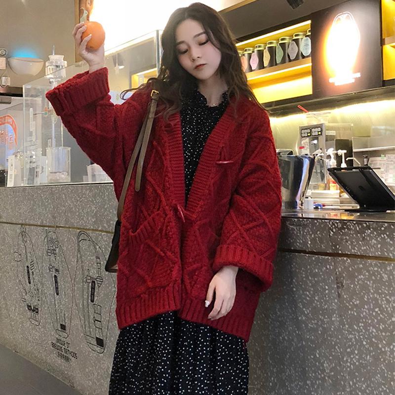 红色针织衫 2020秋冬新款粗毛线毛衣女开衫外套中长款加厚宽松慵懒风针织红色_推荐淘宝好看的红色针织衫