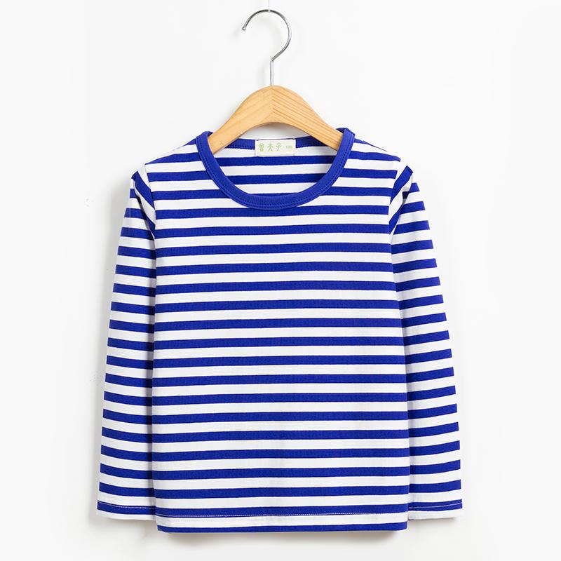 蓝白条纹t恤 秋装男童女童宝宝海魂衫童装纯棉长袖t恤海军风儿童蓝白条纹上衣_推荐淘宝好看的女蓝白条纹t恤