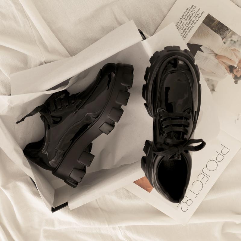 黑色松糕鞋 刘雯同款漆皮厚底增高松糕鞋女2020新款英伦学院风ins黑色小皮鞋_推荐淘宝好看的黑色松糕鞋