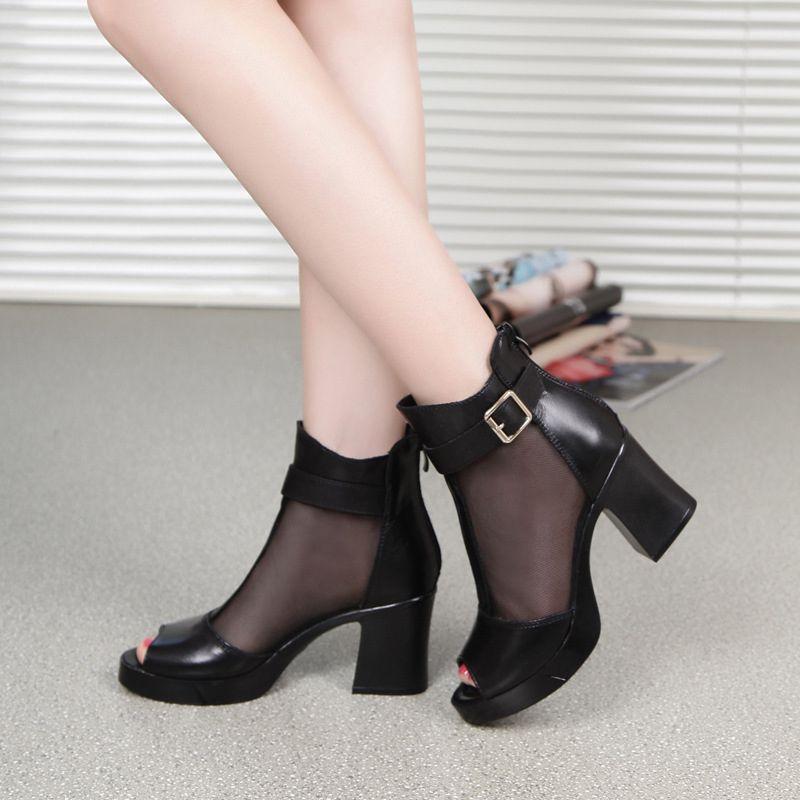 罗马高跟鞋 安迪拉2020春夏新款高跟真皮鱼嘴网靴罗马女凉鞋牛皮网纱女鞋短靴_推荐淘宝好看的女罗马高跟鞋