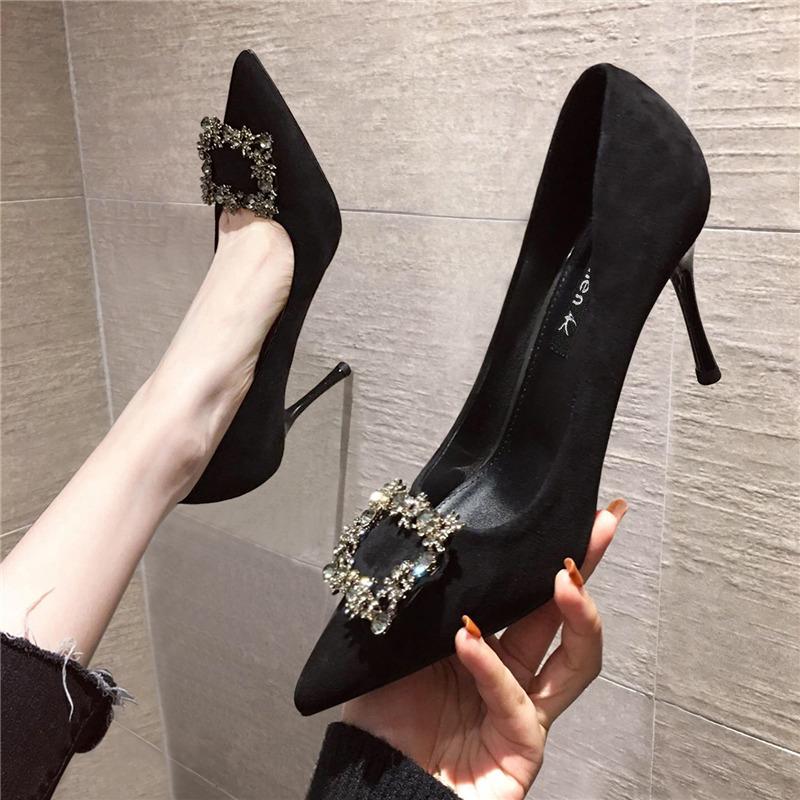 黑色尖头鞋 2021年春季新款少女网红水钻法式高跟鞋女细跟尖头性感黑色单鞋秋_推荐淘宝好看的黑色尖头鞋