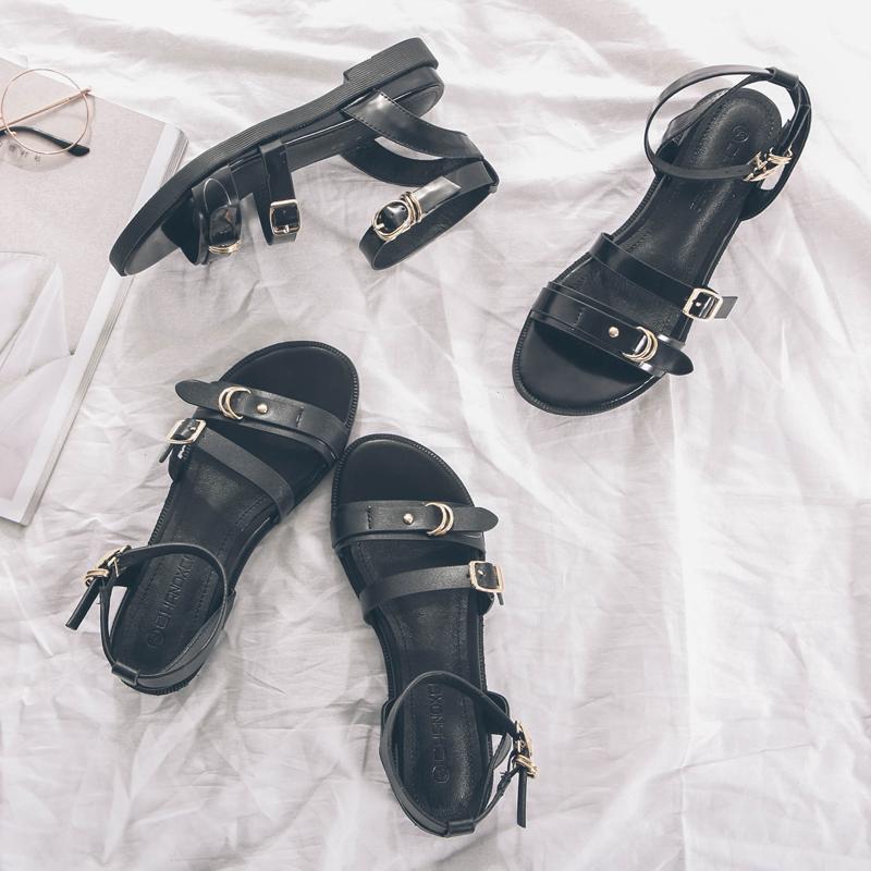 黑色罗马鞋 夏季一字扣带黑色平底凉鞋女2021新款英伦仙女风百搭平跟罗马鞋子_推荐淘宝好看的黑色罗马鞋