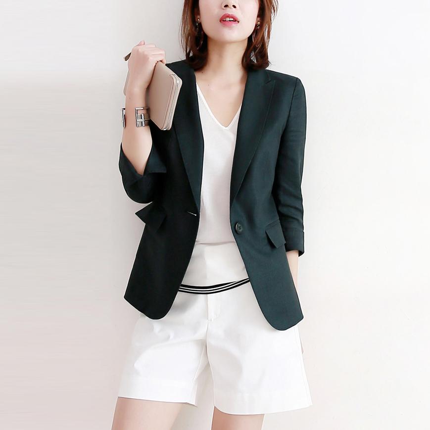 绿色小西装 气质墨尔本绿色薄款小西装2021春夏新款修身棉麻西服外套女七分袖_推荐淘宝好看的绿色小西装