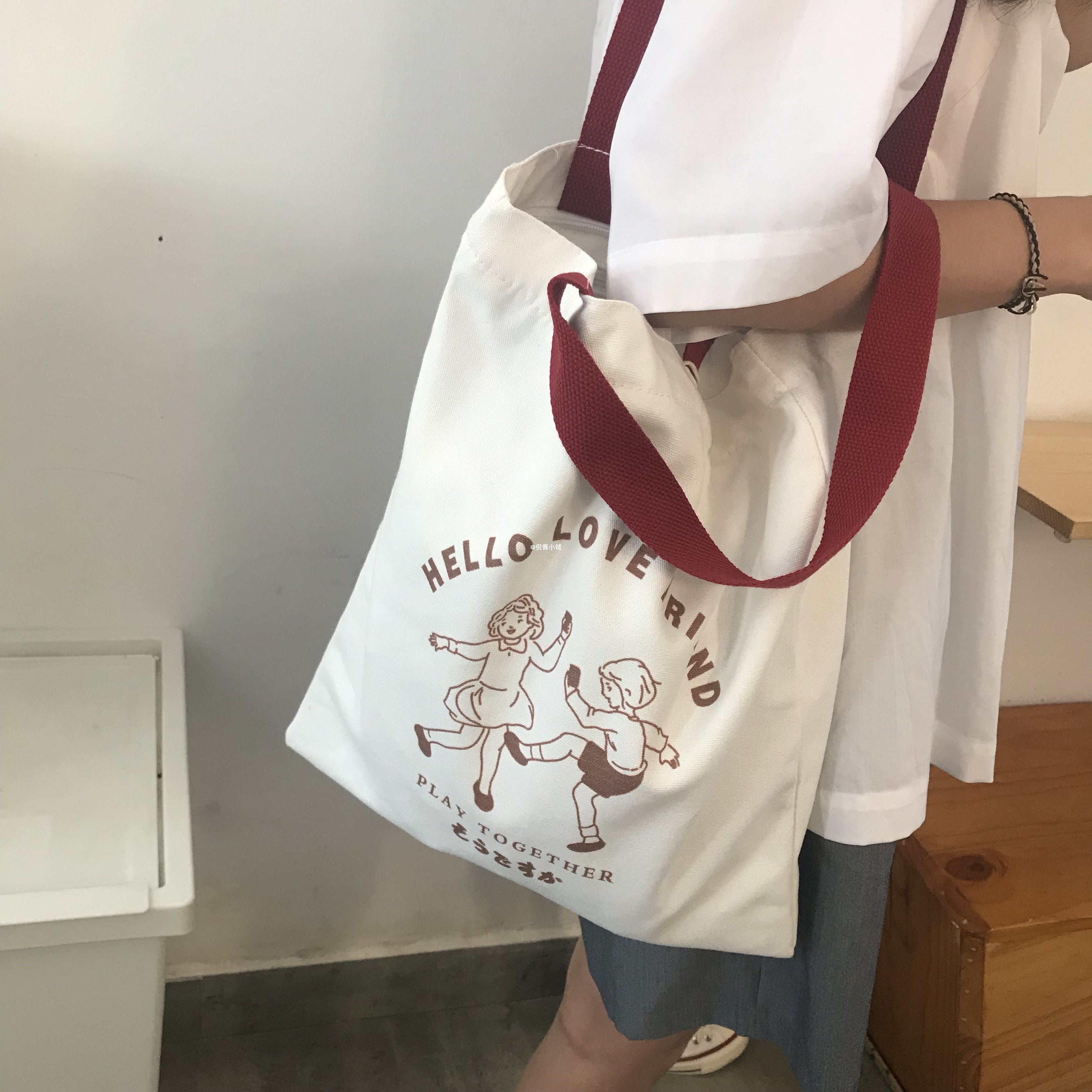 白色手提包 日系手提袋包包女大容量ins学生单肩帆布包布袋子斜挎白色夏季韩_推荐淘宝好看的白色手提包