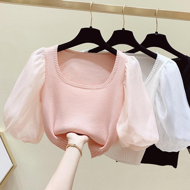 粉红色针织衫 日系可盐可甜泡泡袖t恤女夏季粉红色高腰短款上衣减龄针织衫潮ins_推荐淘宝好看的粉红色针织衫