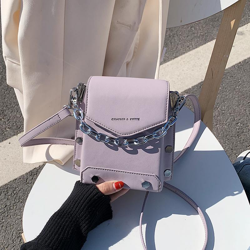 紫色斜挎包 小包包女2020新款韩版手提斜挎包网红小众设计紫色百搭链条水桶包_推荐淘宝好看的紫色斜挎包