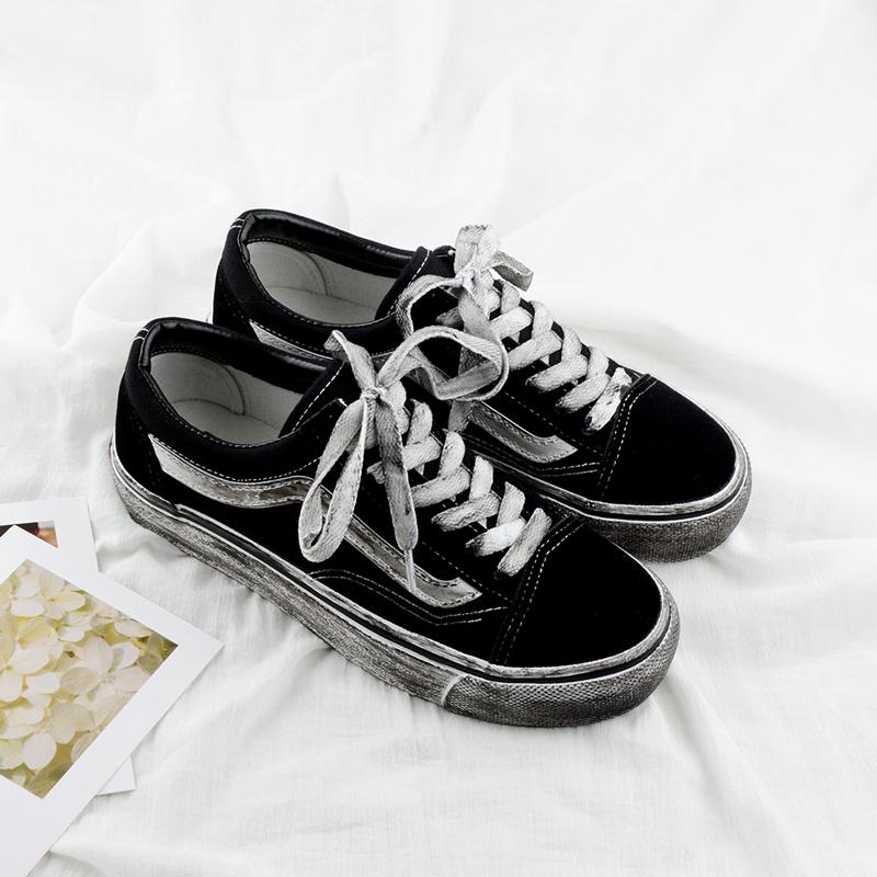 涂鸦帆布鞋 chic复古板鞋女脏脏鞋手绘涂鸦做旧小脏鞋原宿风情侣百搭男帆布鞋_推荐淘宝好看的女涂鸦帆布鞋