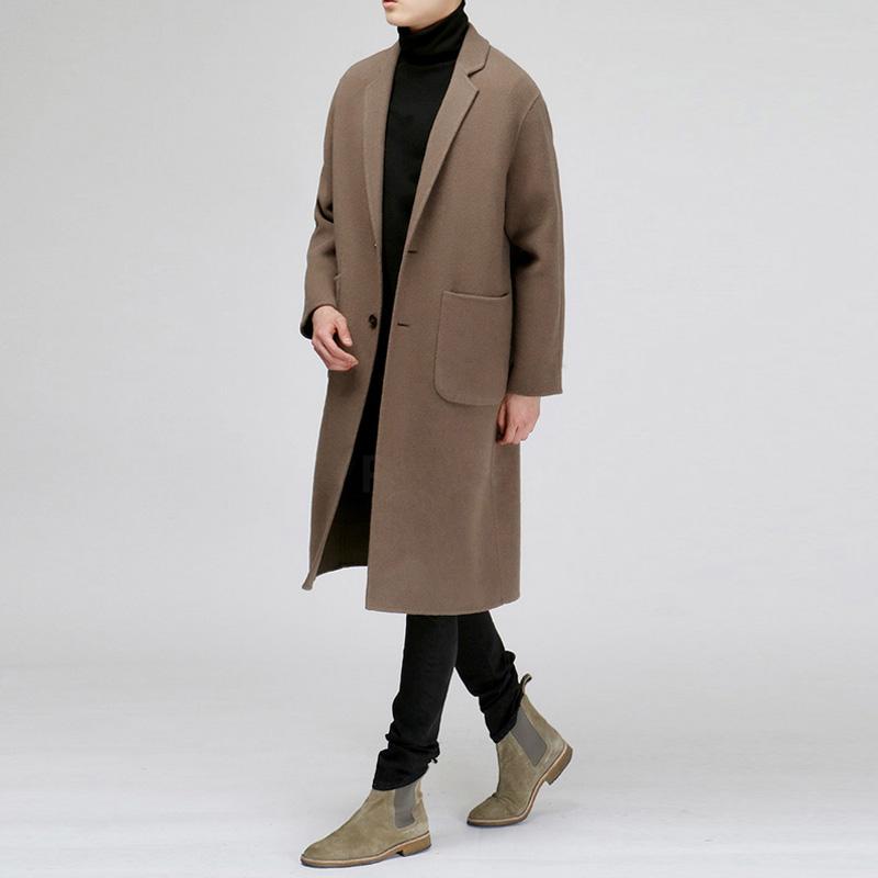男士风衣 2021冬季加厚新款韩版男士双面羊绒大衣呢子男中长款毛呢风衣外套_推荐淘宝好看的男风衣
