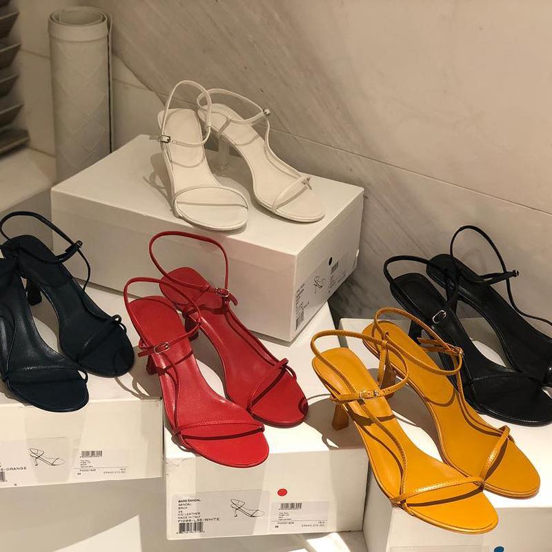 白色凉鞋 法式细跟一字带凉鞋仙女风2019夏新款百搭白色网红细带高跟鞋中跟_推荐淘宝好看的白色凉鞋
