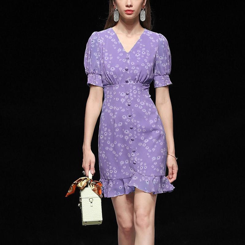 紫色连衣裙 紫色气质修身雪纺收腰显瘦中长款碎花连衣裙女装夏季2021新款_推荐淘宝好看的紫色连衣裙