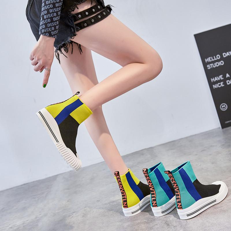 韩版短靴 新款透气针织靴女韩版学生厚底女靴子短靴女平底弹力靴女短筒单靴_推荐淘宝好看的女韩版短靴