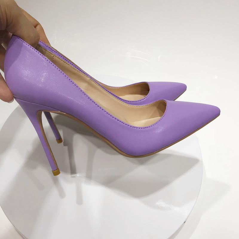 紫色尖头鞋 2020春浅紫色舒适高跟鞋尖头细跟浅口单鞋香芋紫名媛宴会女鞋10cm_推荐淘宝好看的紫色尖头鞋