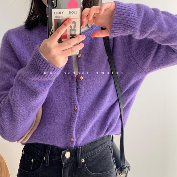 针织衫外套 2020年秋季新款慵懒风宽松纯色短款针织小开衫叠穿气质毛衣女外套_推荐淘宝好看的女针织衫外套