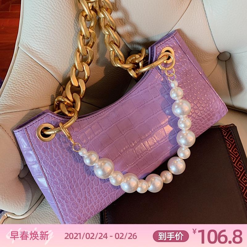 紫色链条包 LOSEA 紫色青蛙腋下法棍单肩包女包手提链条珍珠小包包2020新款潮_推荐淘宝好看的紫色链条包
