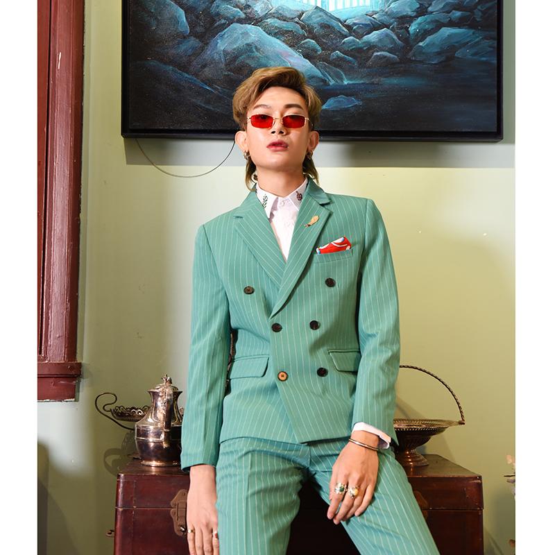 绿色小西装 【爱穿帮】春季发型师小西装套装男绿色条纹双排扣网红西服潮修身_推荐淘宝好看的绿色小西装