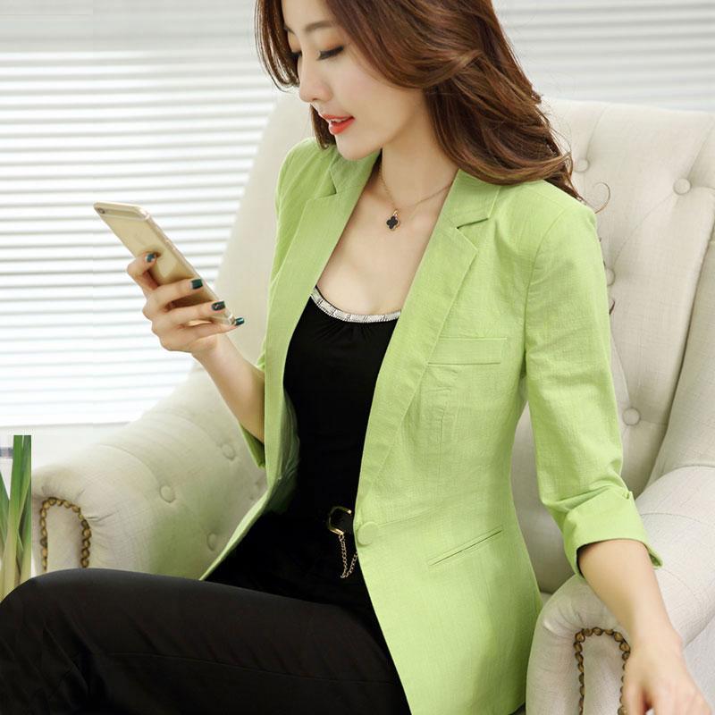 绿色小西装 七分袖小西装女2021夏季韩版短款休闲糖果绿色外套透气薄款西服女_推荐淘宝好看的绿色小西装