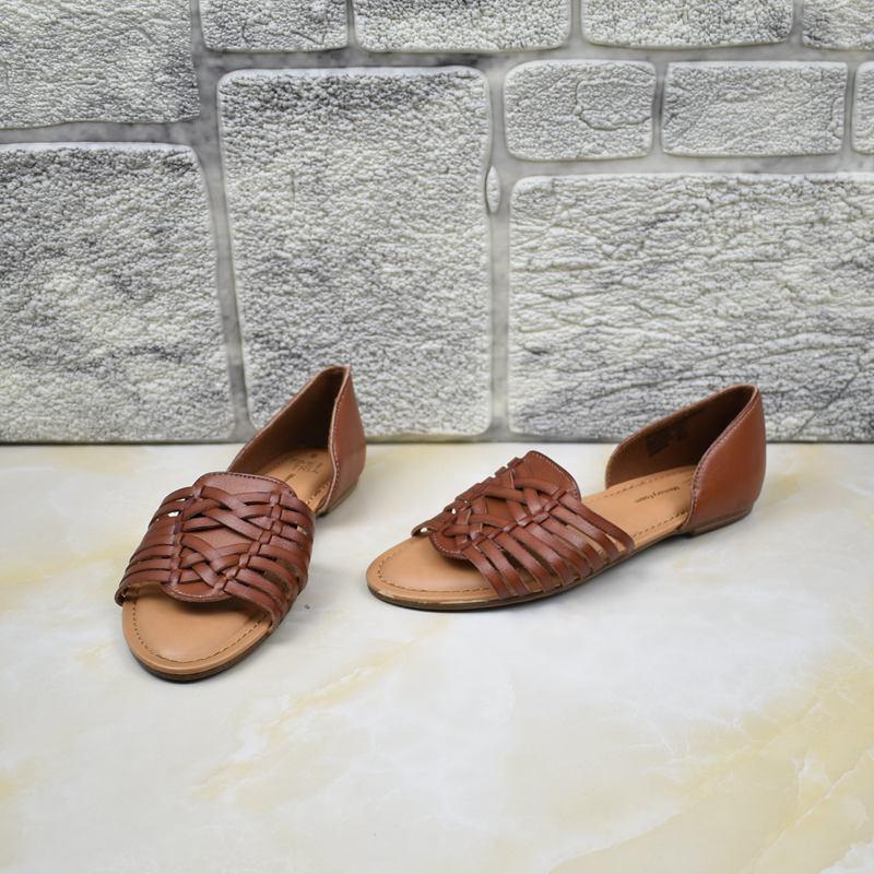 平跟罗马凉鞋 外贸女鞋夏季时尚镂空编织休闲凉鞋女露趾平跟罗马鞋舒适特价_推荐淘宝好看的女平跟罗马凉鞋